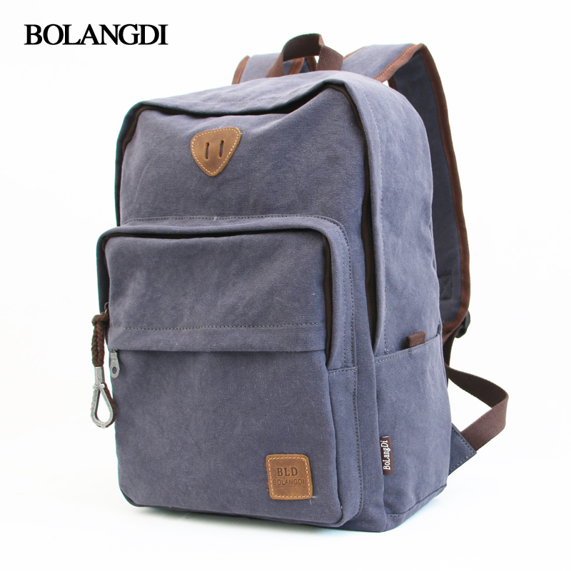 Bolangdi hot sale 2017 new fashion vintage leisure men s backpack zipper solid canvas backpack school