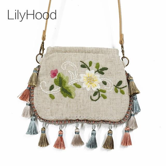 Lilyhood Handmade Embroidery Burlap Flap Small Shoulder Bag Women Fashion Flower Retro Rustic Shabby Chic Fringed