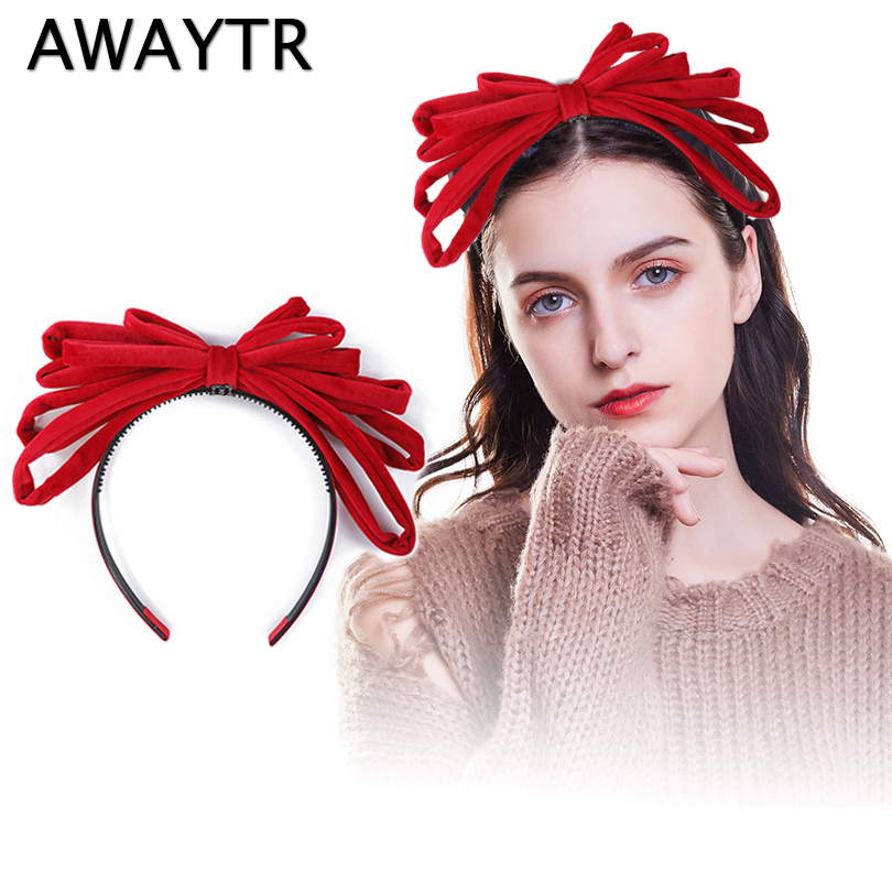 AWAYTR New Velvet Bezel Hairband for Women Fashion Rich Velvet Large Bow Headband With Teeth Girls Hair Accessories   Headwear