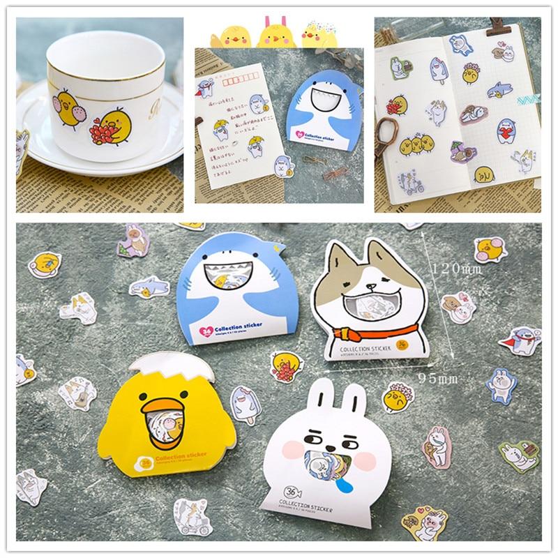 36-50pcs/pack DIY Diary Decoration Sticker Cute Cartoon Korean Style Animal Shark Chicken Dog Rabbit PVC Sticker Pack School