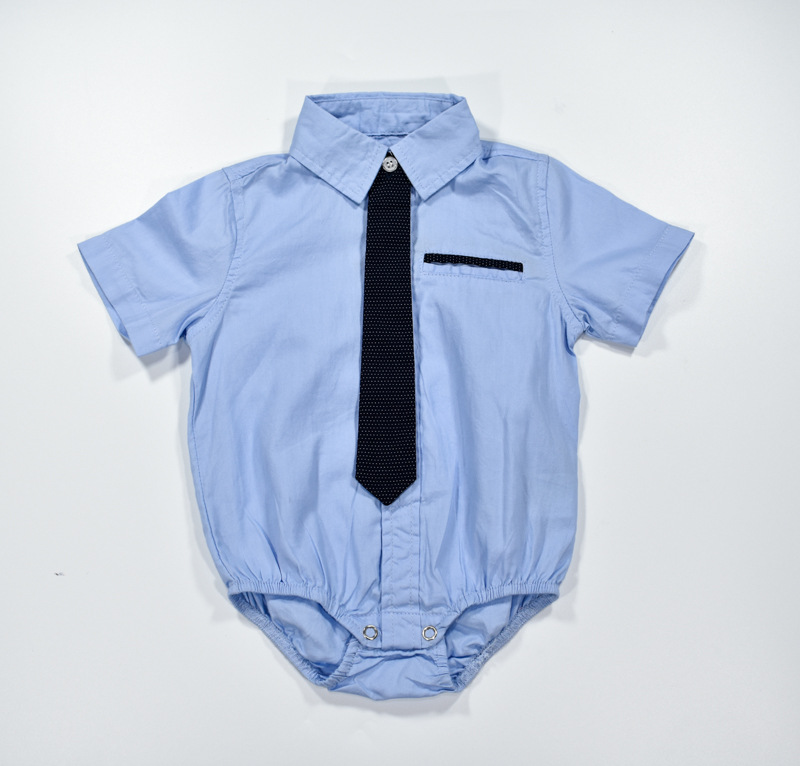 Baby clothes 2017 boys rompers kids summer romper short sleeve formal shirt with tie clothes for baby blue jumpersuit for boys