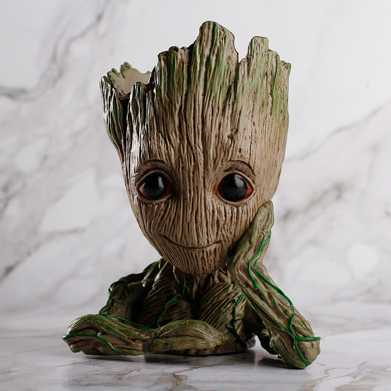 Fashion Guardians of The Galaxy Flowerpot Baby Action Figures Cute Model Toy Pen flower Pot Best Christmas Gifts For Kids
