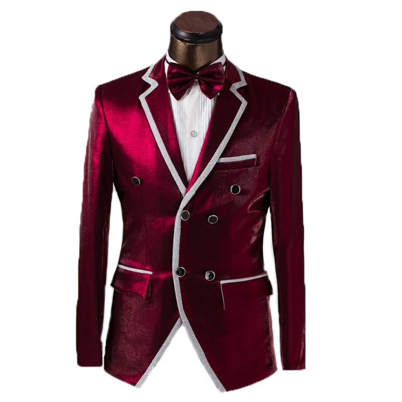 f4e410ae2 2015 nuevas llegadas hombres de moda traje de boda doble de pecho de hombre  novio traje de chaqueta + pantalón + cinturón + Bowtie vestido de hombre  trajes ...