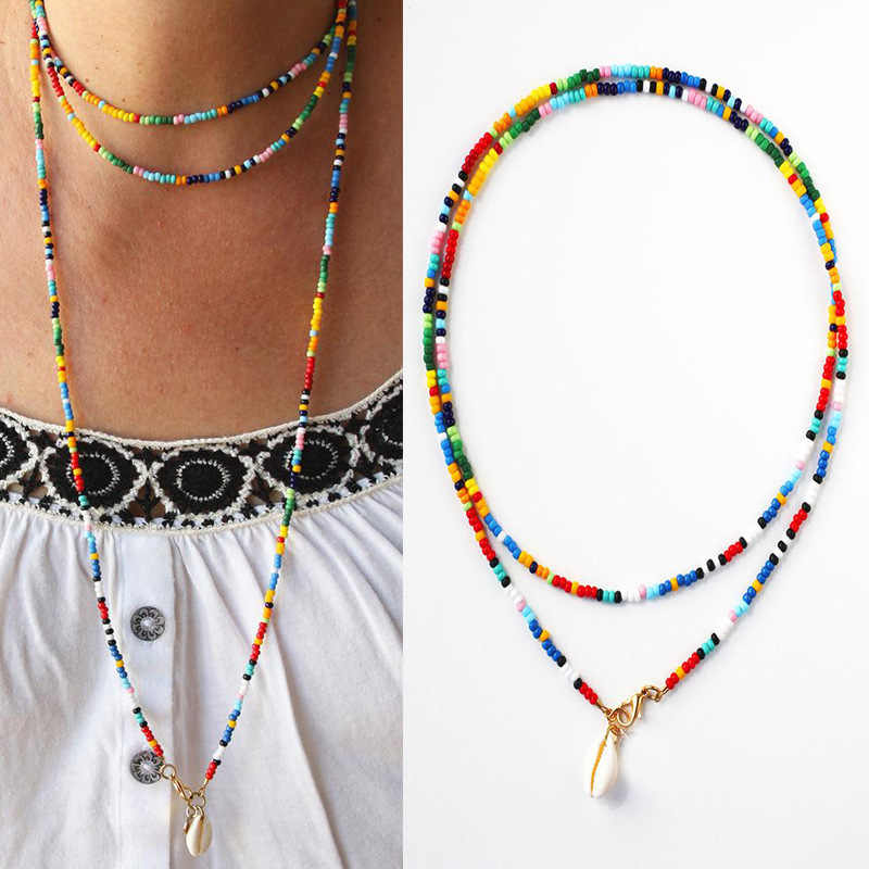 Chic Colorful Beads Choker Necklaces Shell Pendant Fashion Gold Color Chain Necklace For Women Trendy Summer Bohemia Jewelry