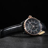 OUPAI كلاسيكي قديم موضة أسود ساعة سيراميك رجال فاخر جلد حزام ماء مقاومة رياضة ساعة عادية