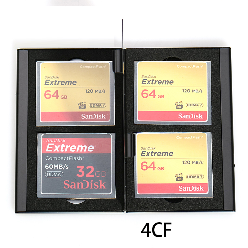 4 In 1 Aluminum Storage Box Bag Memory Card Case Holder Wallet Large Capacity For 4* Compact Flash Card