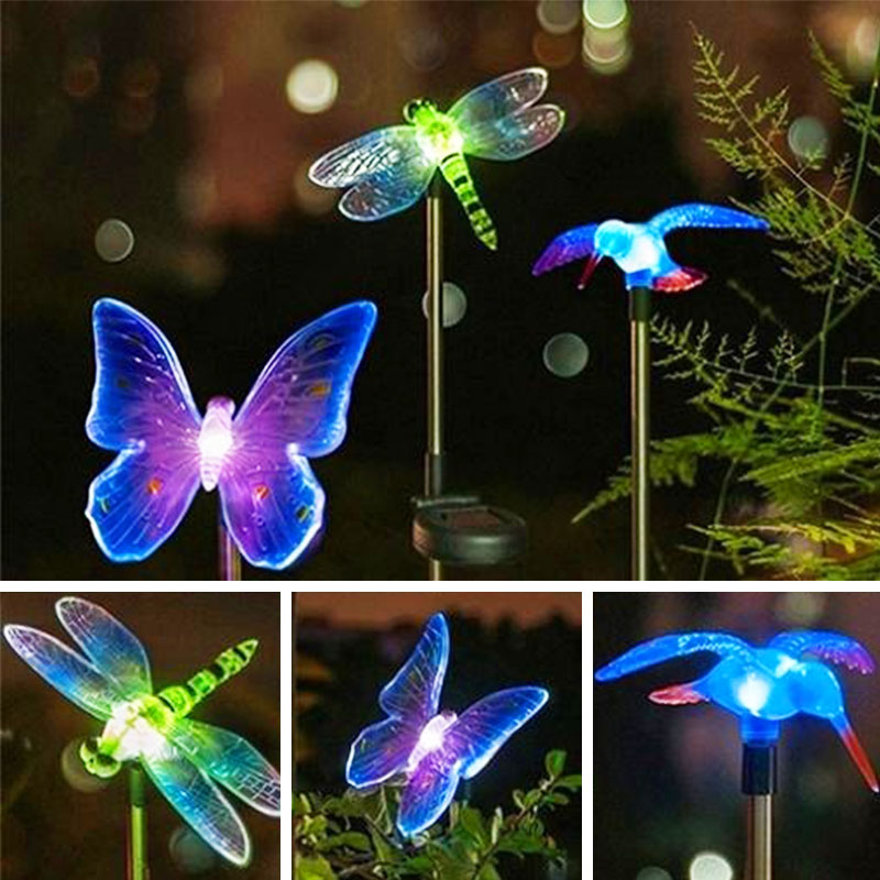1pcs Color Changing LED Garden Solar Light Outdoor Waterproof Dragonfly Butterfly Solar LED For Garden Decoration Path Lawn Lamp