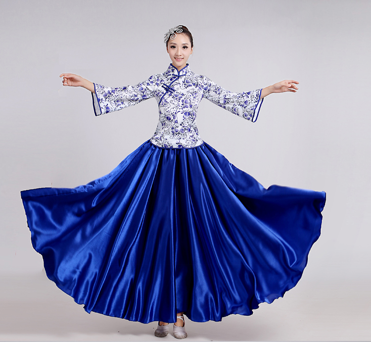 (0180) Chinese folk dance blue/white porcelain choral costume guzheng erhu performance costumes/clothing classical cheongsam