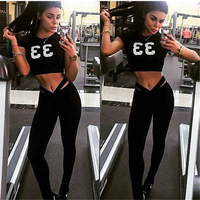 New GYM Women Sport Suit Fitness Tights Set Quick Dry Compression Vest Workout Trucksuit Clothes Top