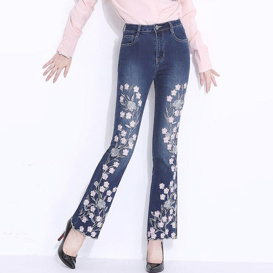 Bleu Automne Flare Brodé Femme Élastique Printemps Paillettes D'été Broderie Casual Pantalon Fleur Jeans Femmes Pantalon À Denim rR84rqx0