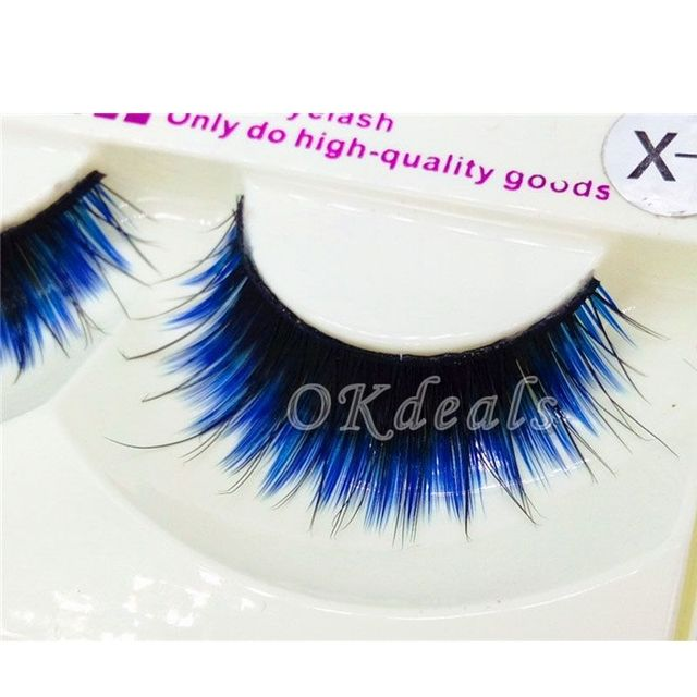 1 Pair of HOT Fashion Long Black Blue False Eyelashes Beautiful Makeup Eye Lashes Make Up Beauty Tools 4