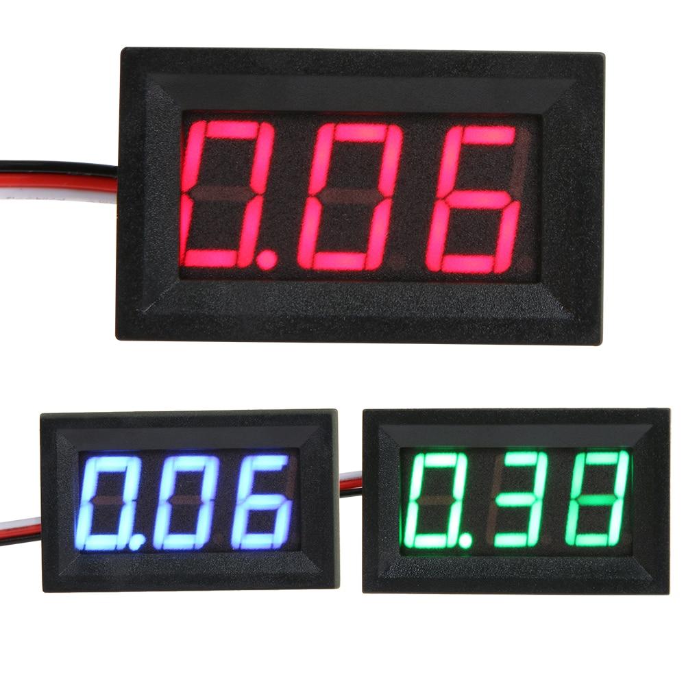 V27D 0.56inch LED Digital Voltmeter DC 0-40V Three Line Digital Display Volt Meter Voltage Current Red Green Blue