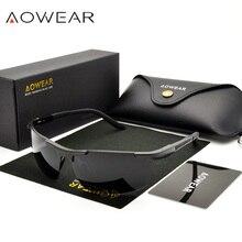AOWEAR, Роскошные, алюминиево-магниевые солнцезащитные очки, мужские, поляризационные, для спорта, ночного, желтого цвета, для вождения, зеркальные, солнцезащитные очки для мужчин, аксессуары A51