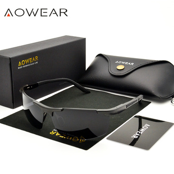 AOWEAR Luxury Aluminium Magnesium Sunglasses Men Polarized Sport Night Yellow Driving Mirror Sun Glasses for Men Accessories A51