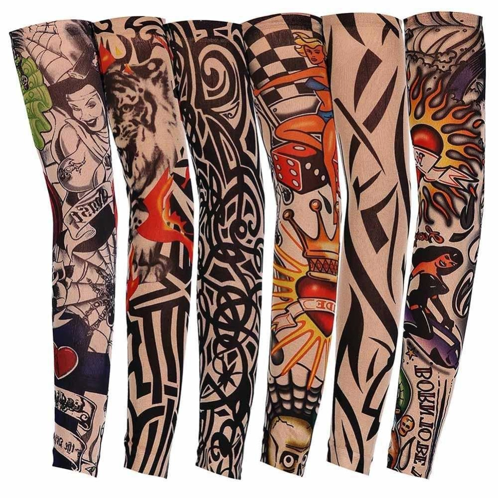 1Pc Nylon Tatoo Arm Stockings Arm Warmer Cover Elastic Fake Temporary Tattoo Sleeves For Men Women New Arrival image