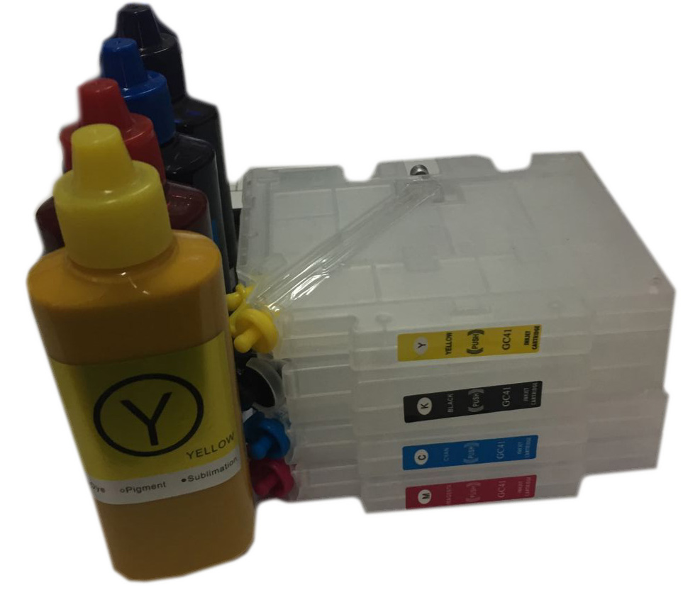 1Set GC41 Refillable Ink Cartridge + GC41 Sublimation Ink for Ricoh SG2100N SG3100 SG3100SNW SG3110DNW SG3110DN SG3110SFNW 1000ml bottle sublimation ink for ricoh gc21 gc31 gc41 heat transfer ink for sg3100 sg3110 sg2100 e3300n 4colors are available