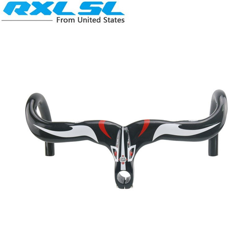 RXL SL Bicycle Handlebar Road Bicycles Carbon Road Bike Handlebars Integral 3K Gloss Red 401 500mm