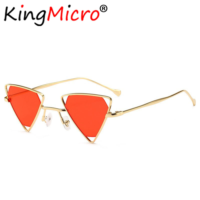 cf05eb33e84e4 2019 Hot Vintage Red Triangle Punk Sunglasses for Women Retro Metal Frame  Black Yellow Pink Sun