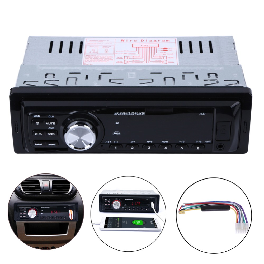 2016 new arrival car stereo audio player fm aux input receiver in dash sd usb in dash music mp3. Black Bedroom Furniture Sets. Home Design Ideas