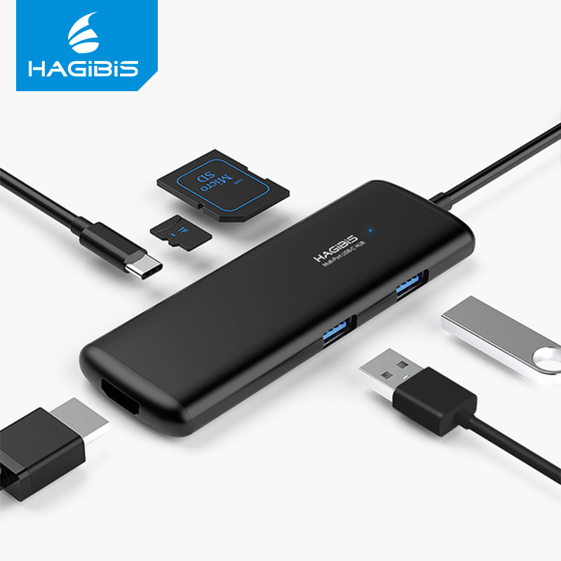 Hagibis Type-C USB 3.0 HUB Multi-fonction USB HUB with HDMI 4K HD SD/TF Card Reader PD Charging Adapter for MacBook Pro USB C 7in1 usb c hub with pd power charging 4k hdmi video sd tf card reader gigabit ethernet adapter usb 3 0 hub combo for macbook pro