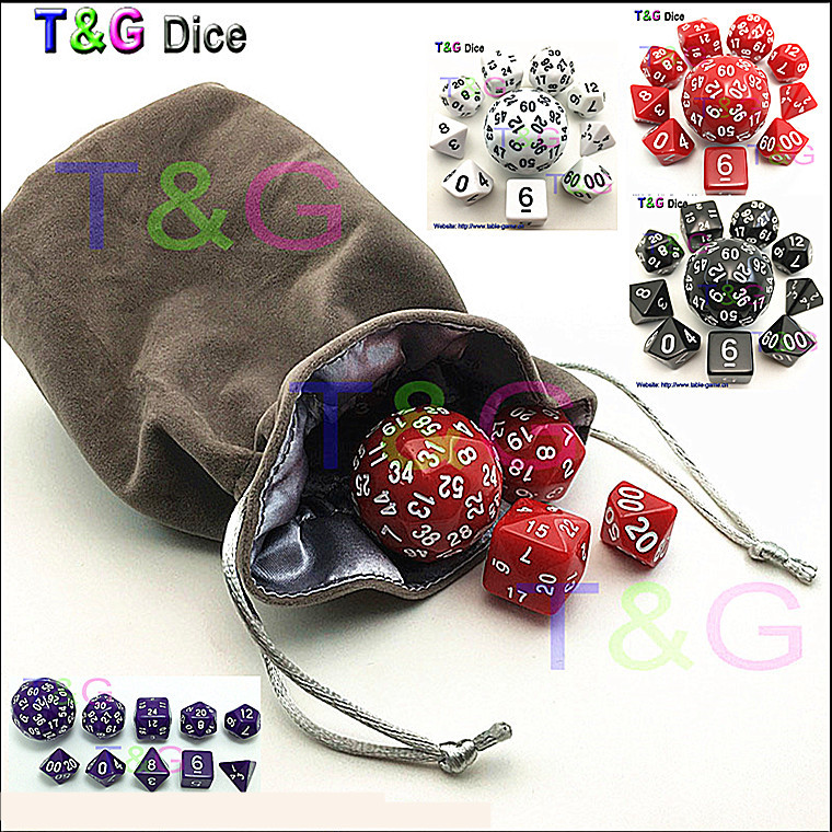 10pcs Digital Dice Set with Bag High quality 3 Colors d4 d6 d8 2xd10 d12 d20 d24 d30 d60 for dnd RPG Playing Game Dice gift colorful 14mm 10pcs set acrylic transaprent d6 dice 6 sided gambling red blue green yellow purple dice for drinking board game