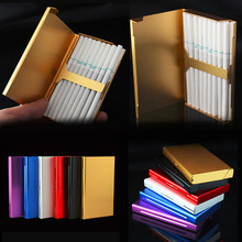 1Pc Portable Pocket Size Women Super Thin Creative Personality Cigarette Box 20 Stickers Ladies Metal Gift Case