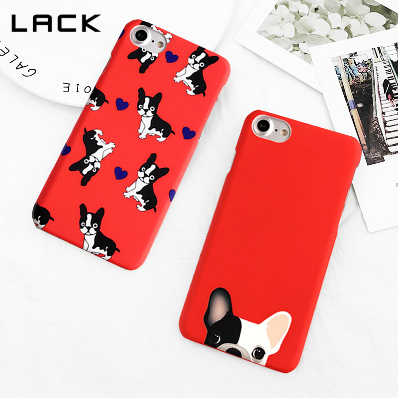 LACK Red Color Pocket Dog Phone Case For iphone 7 6 6s 8 Plus 5 5S Cartoon Bulldog Heart Cases For iphone 7 Hard Frosted Cover
