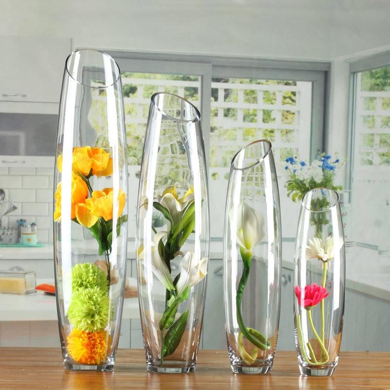 Floor Glass Vase Egg Shaped Transparent Vase Creative Artillery Vase