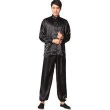 New Chinese Traditional Men's Satin Rayon Kung Fu Suit Vintage Long Sleeve Tai Chi Wushu Uniform Clothing M L XL XXL 3XL L070626