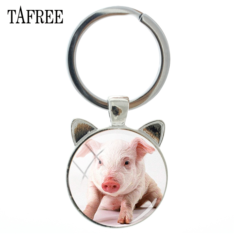 TAFREE Lovely Pet Piglet Ear Keychains Charm Hot Sale Metal Silver Color Key Chain Key Ring Car Handbags Men Women Jewelry QF730 in Key Chains from Jewelry Accessories