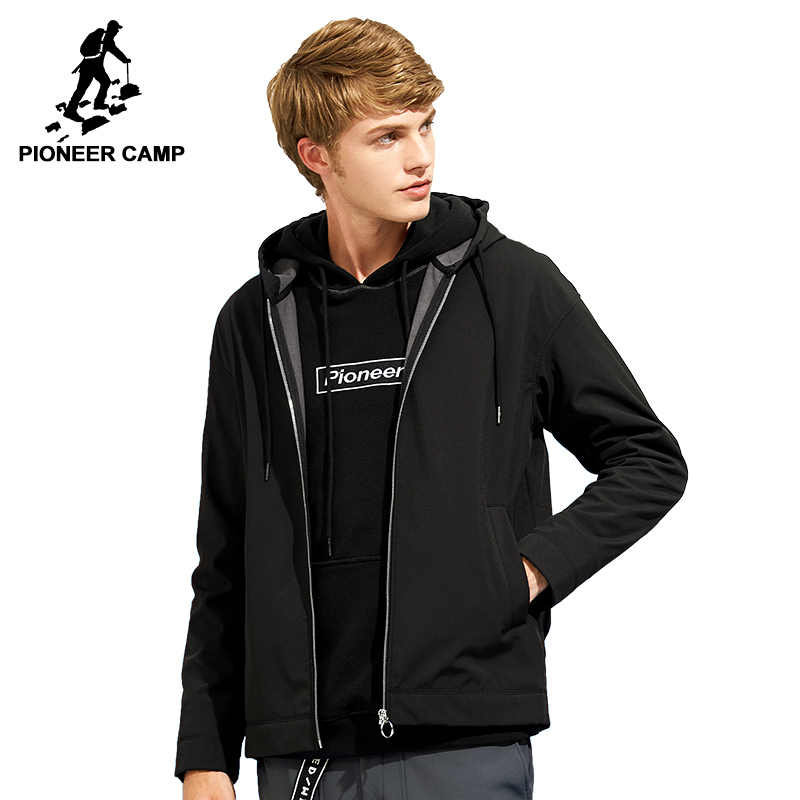 Pioneer Camp softshell veste imperméable pour hommes marque-vêtements à capuchon noir manteau occasionnel mâle coupe-vent top qualité AJK702376