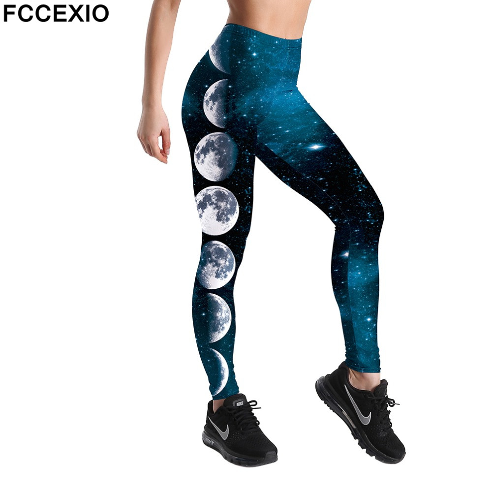 FCCEXO Wholesale 3D Printed Galaxy Moon Harajuku Gothic Sexy Plus Size High Waist Push Up Fitness Workout Leggings Women Pants