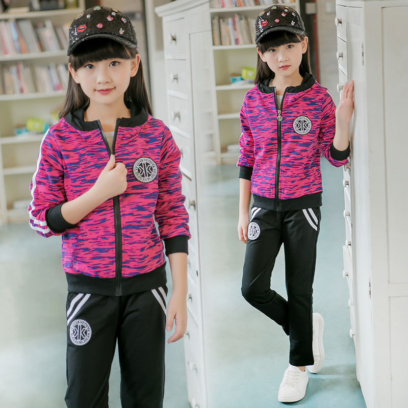 2017 Children Clothing Sets Teenage Girls Fashion Fatigues Tracksuits Kids Zipper Hoodies Coat+Pants Twinset Sport Outerwears teenage girls clothes sets camouflage kids suit fashion costume boys clothing set tracksuits for girl 6 12 years coat pants