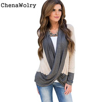 Chenawolry 1ピース熱い販売魅力的なラグジュアリーセクシーな女性不規則なスプライス綿ロングスリーブvネックルーズtシャツトップス# SO3345