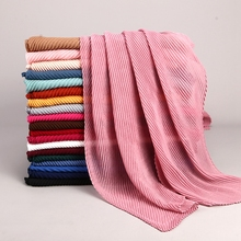 LARRIVED 2019 NEW pleated maxi hijabs scarf elegant shawl plain muslim hijab women wrinkle scarves shawls soft muffler 1 pc