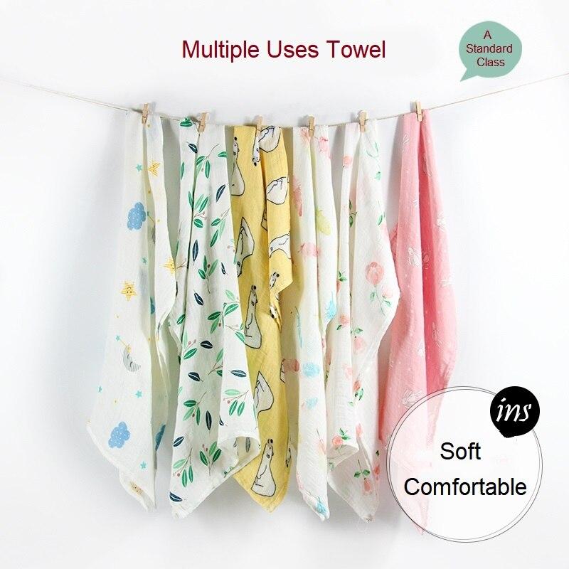 Newborn Blankets Bamboo Bath Baby Swaddle Kids Muslin Organic Cotton Fabric Super Soft Stuff Girls Burp Cloth Towel Monthly Wrap