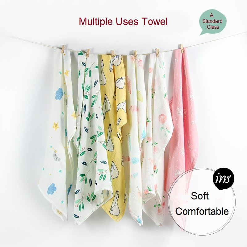 Muslin Organic Cotton Blanket Newborn Infant Swaddle Baby Soft Wrap Towel 8C