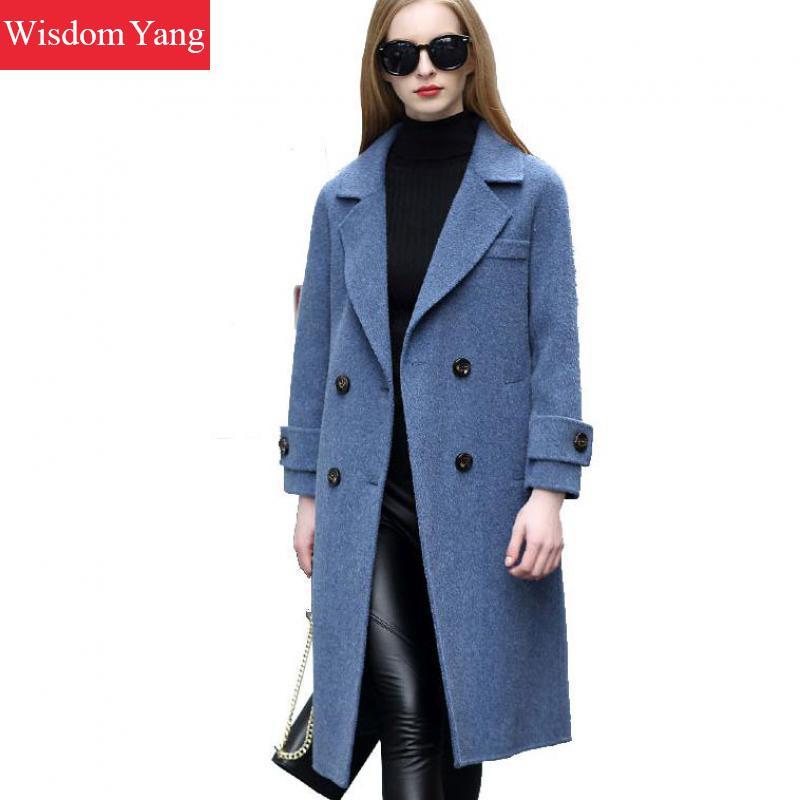 7993800391 A blue E Femminile Eleganti Cappotti Inverno Cappotto Coat Blu Impermeabili  Beige Lana Donna Del Donne Trench Allentato Della Sportiva Giacca ...
