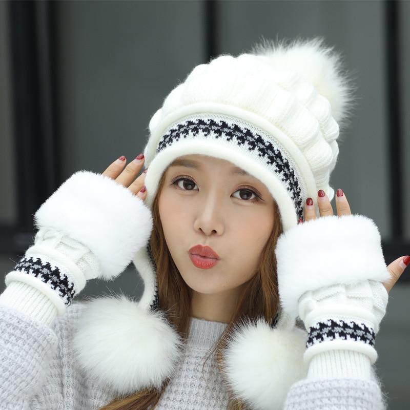 Girl Warm Ski 2018 New Brand Big Fur Pom Poms Warm Gloves + Knit Hat Set  Winter Women Beanie Hat Thick Skullies Female Cap