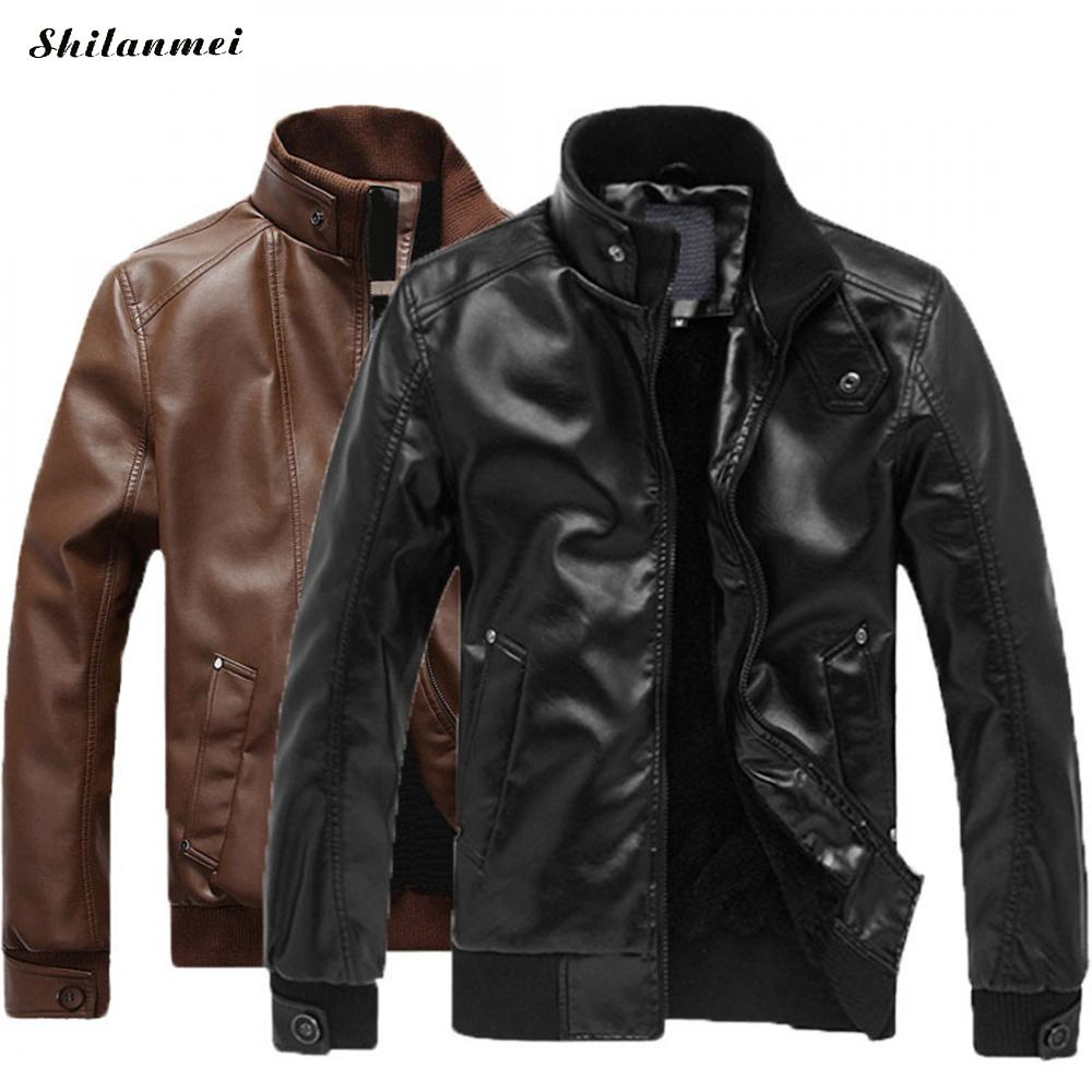Men Leather Jacket Fashion Plus Size Quality Fleece Lined Motorcycle Bomber Faux Leather Coats Male Outerwear