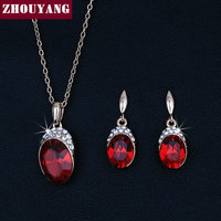 ZYS159 Red Crystal 18K Rose Gold Plated Jewelry Necklace Earring Set Rhinestone Made With Austrian Crystals