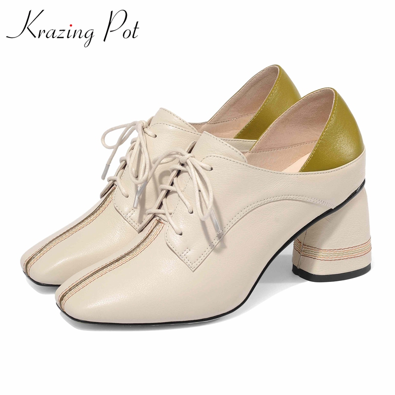 KRAZING POT genuine leather brand shoes high heels square toe lace up streetwear big size 43