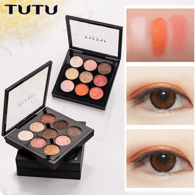 TUTU New Peach Matte Eyeshadow Palette Pigment Eye Shadow Korean Cosmetics Makeup 9 Colors Nude Glitter Shadows Pallete Make Up women newthe balm california and colour that 9 colour cosmetics makeup eyeshadow palette paleta de sombra eye shadow