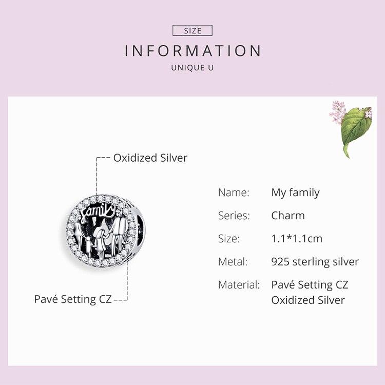 HTB10Pu9UCzqK1RjSZFpq6ykSXXaj BAMOER Family of Four Round Metal Beads 925 Sterling Silver Families Charm for Women Original Silver Bracelet Bangle SCC1184