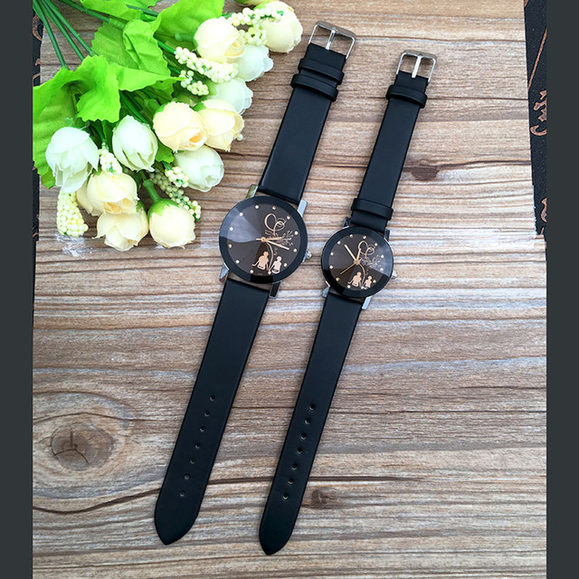 Student Couple Stylish Spire Glass Belt Quartz Watch Lovers' Fashion Saat Erkek Kol Saati Relojes Hombre
