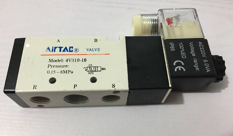 Air Solenoid Valves 4V310-10 2 Position 5 Port 3/8 Pneumatic Control Valve 5 way air valve 3 8 inch pneumatic gas air control solenoid valves inlet outlet 3 8 4a310 10