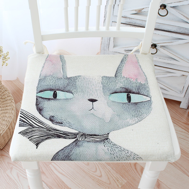Thick Skid Resistance Elastic Chair Cushions Outdoor Cat Decor Kitchen Chair  Solid Color Square Seat Cushion