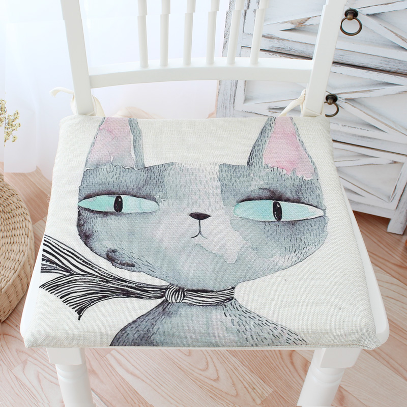 Thick Skid Resistance Elastic Chair Cushions Outdoor Cat Decor Kitchen Chair  Solid Color Square Seat Cushion 40x40cm 45x45cm