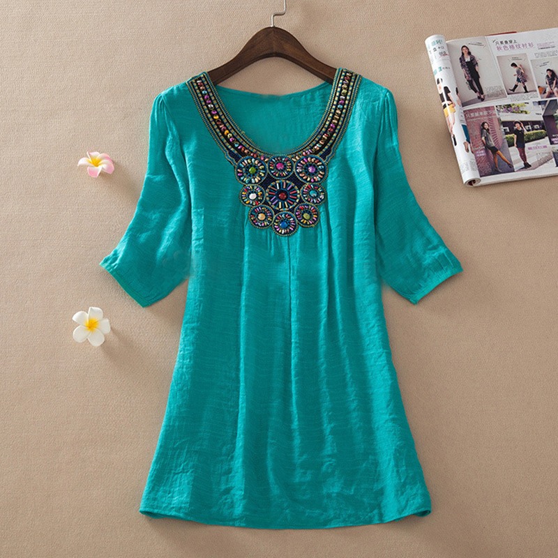Ruoru Large Size Beading Embroidery Tops Loose Linen Summer Women Blouse Tunic Blusas Feminina Shirt Plus Size Women Clothing