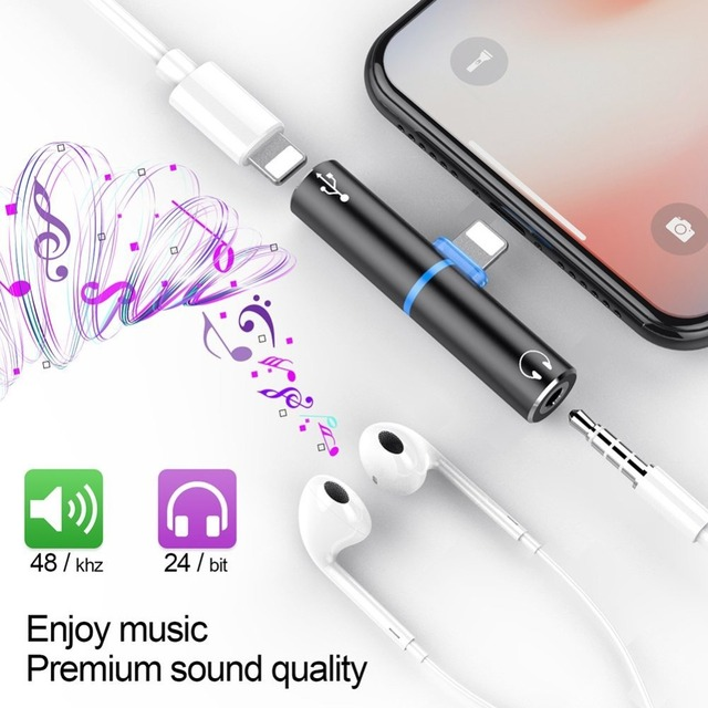 finest selection 7f1a8 01590 US $15.99 |Adapter For Lightning 3.5mm Headphone Jack For iPhone X 10 8 7  Plus Adaptador For Lightning Audio Cable Charger Splitter Adapter-in Mobile  ...